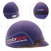 Nón Bảo Hiểm nửa đầu ốp da Mobifone