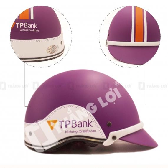 Nón Bảo Hiểm Nửa Đầu TP BANK Tím