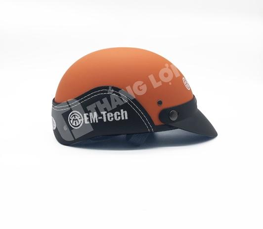 Nón Bảo Hiểm Nửa Đầu Ốp Da EM-TECH